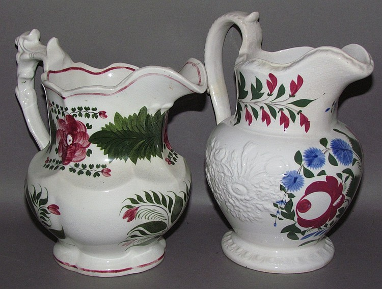 2 English Staffordshire pearlware pitchers
