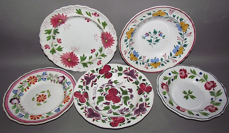 5 English Staffordshire pearlware deep dishes