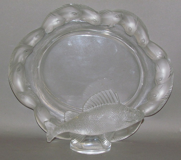 2 pieces of signed Lalique uncolored glass crystal