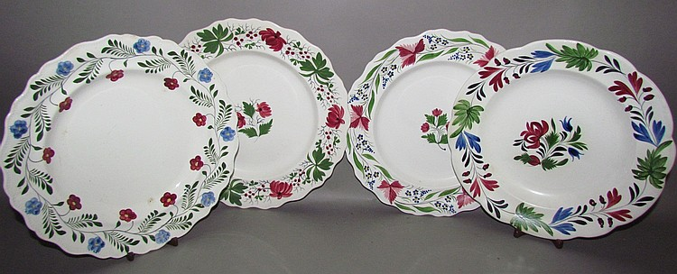 4 English Staffordshire pearlware dinner plates