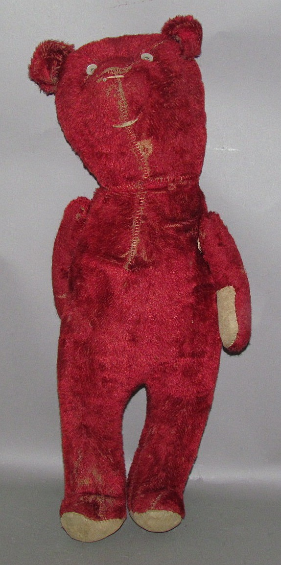 Red mohair teddy bear with button eyes