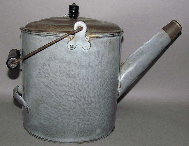 Gray graniteware kettle shaped batter jug