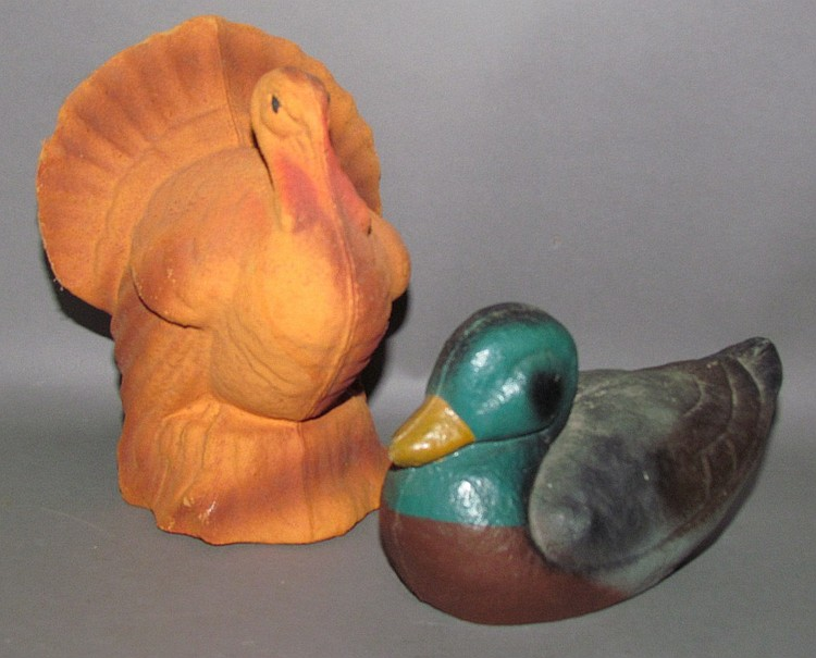 2 collectible papier mache figures