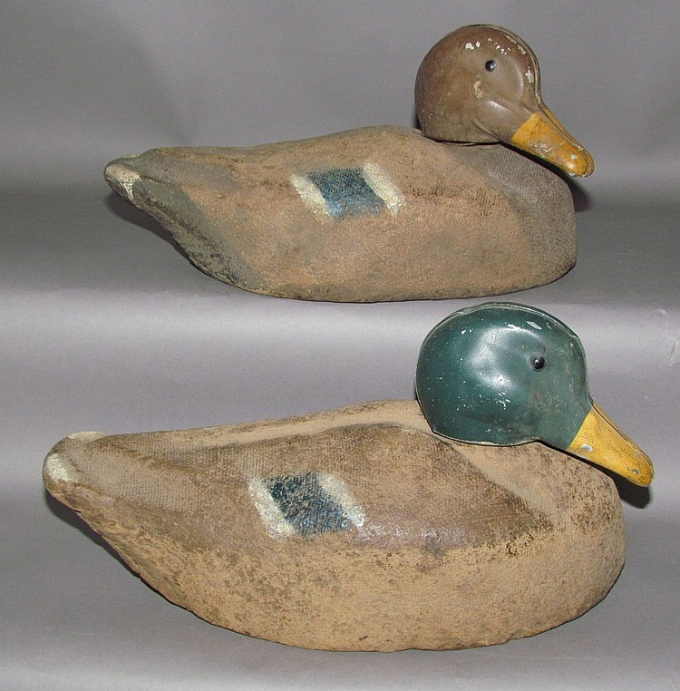 Pair of cork mallard decoys with sheet metal heads