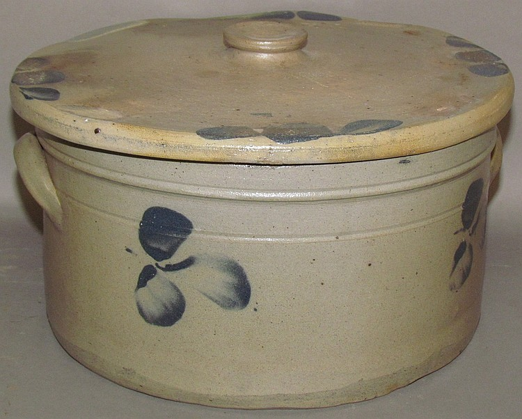 Cobalt decorated stoneware covered cake crock