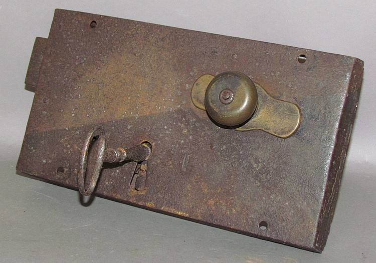 Large wrought iron box style cell door lock