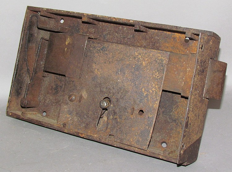 Lot 296: Large wrought iron box style cell door lock