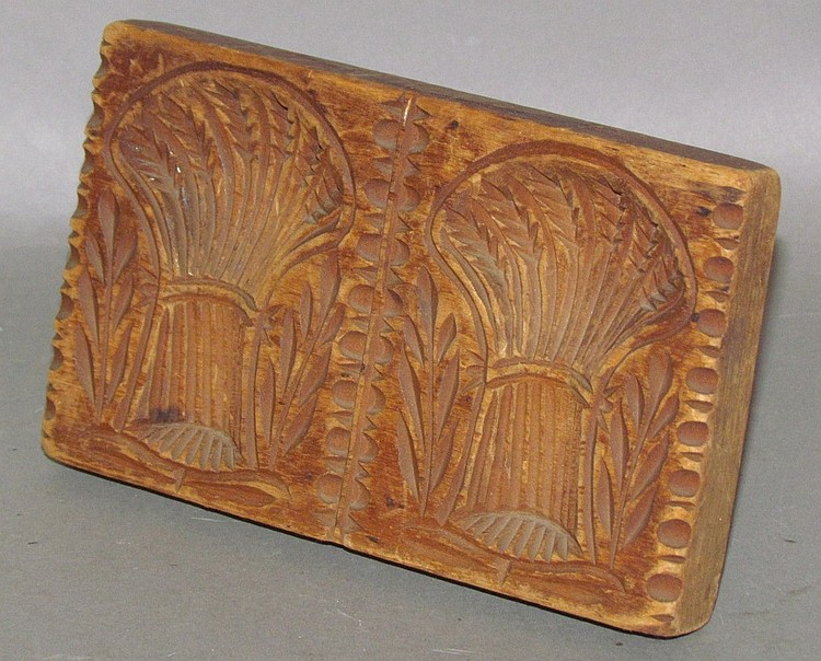 Lot 295: PA rectangular double wheat sheath butter print