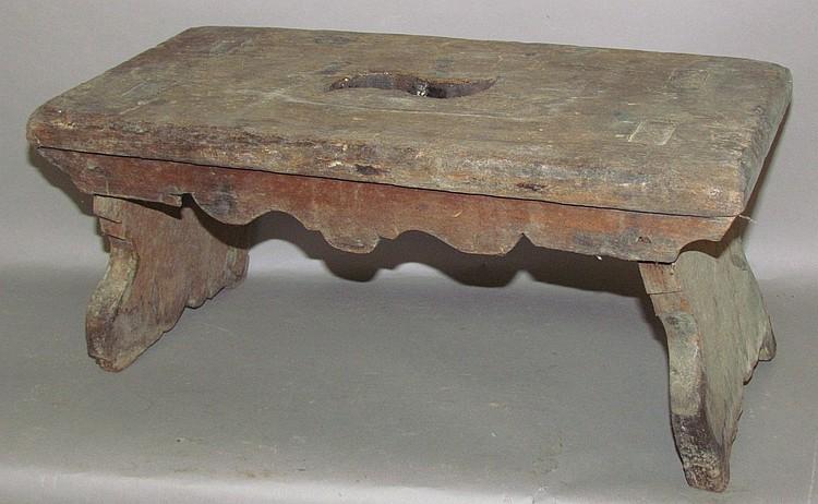Lot 291: Walnut splay leg mortised footstool