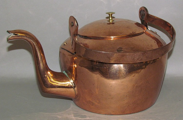 Domed top copper tea kettle