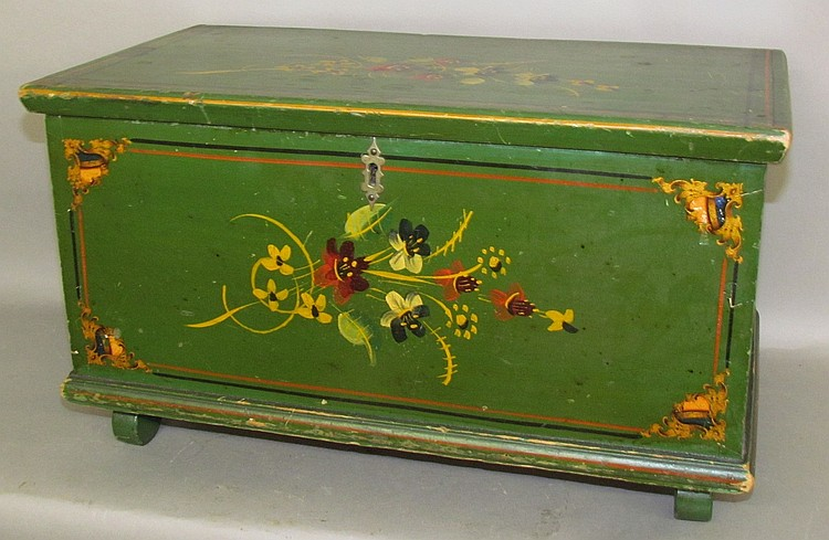 Green painted miniature blanket chest