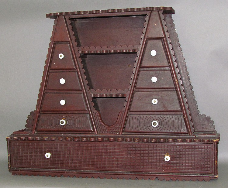 Red painted folk art wall shelf with drawers