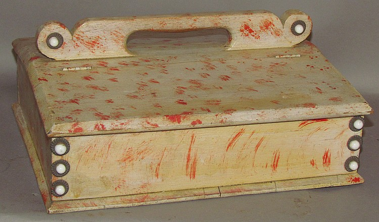Paint decorated lift lid sewing box