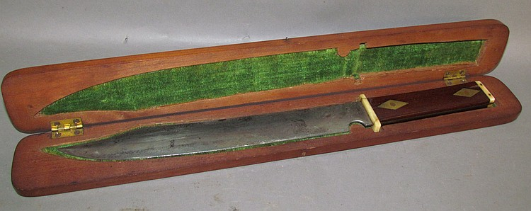 Lot 434: Engraved bowie style knife in case