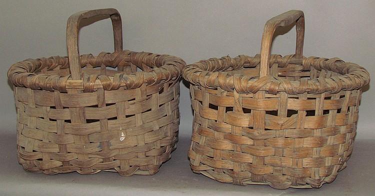 2 ash splint field gathering baskets