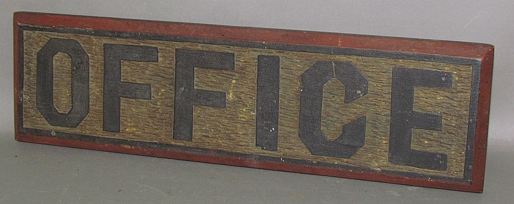 Lot 431: Wooden carved & painted office sign