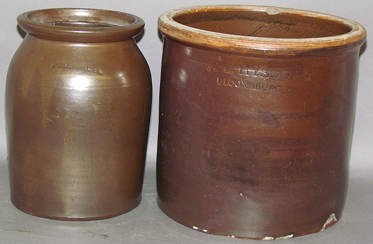 2 pieces of PA signed stoneware