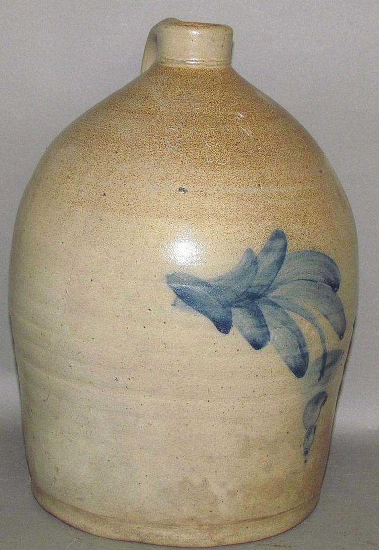 Lot 334: 2 gallon John H Dipple cobalt decorated stoneware jug