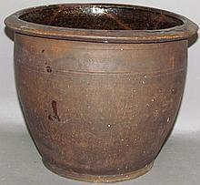 Lot 336: Interior glazed redware crock