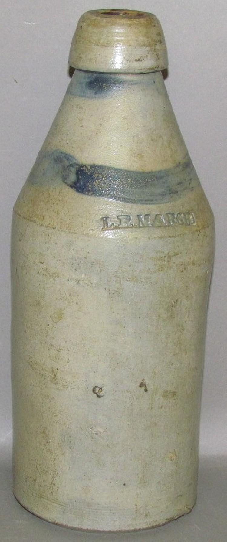 LR Marsh cobalt decorated stoneware bottle