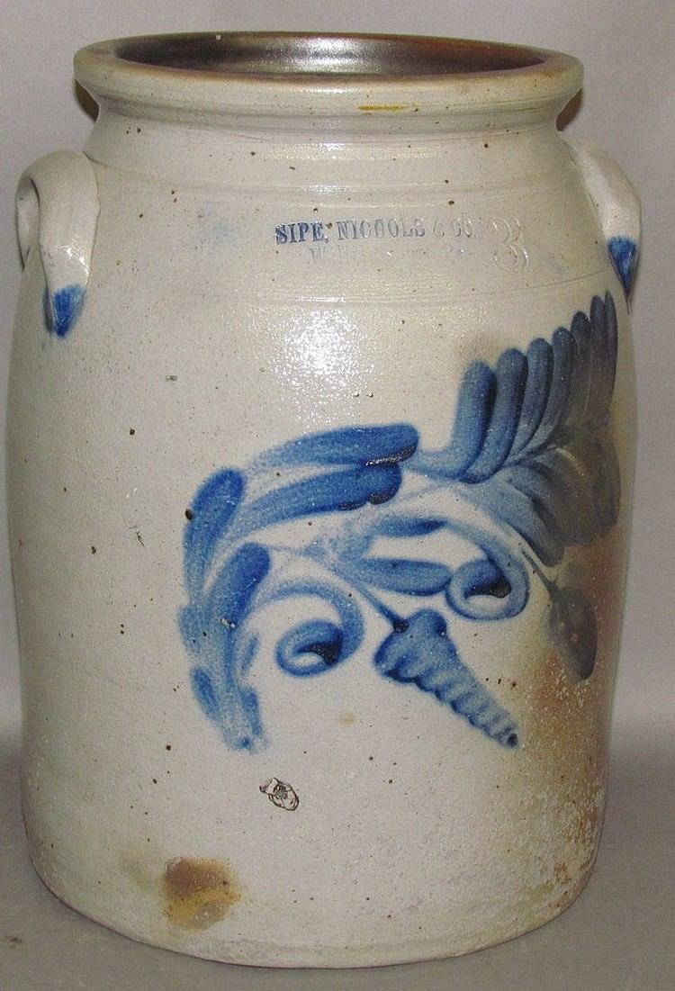 Lot 333: 3 gallon cobalt decorated Sipe & Nichols stoneware butter churn