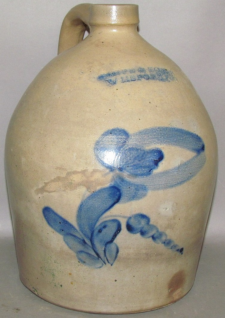 Cobalt decorated Sipe & Sons stoneware jug