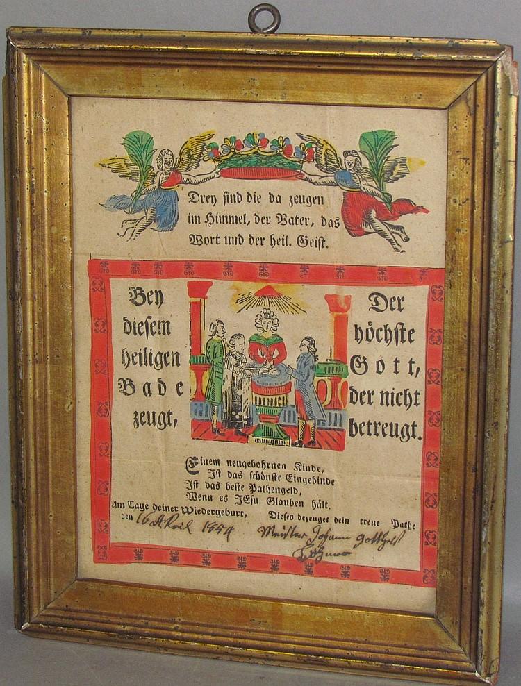 Framed colorized German broadside of baptism