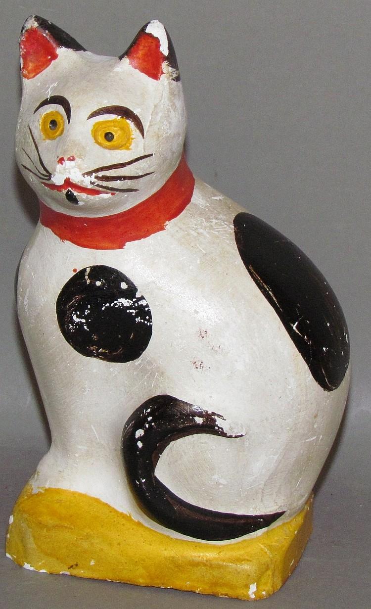 PA chalkware seated cat figure