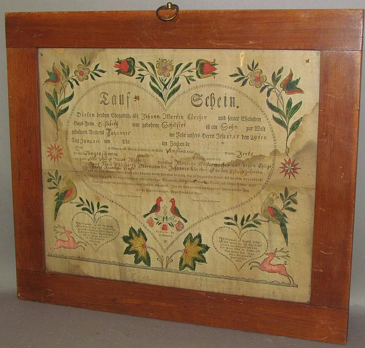 Lot 400: Framed J. Bauman printed taufschein