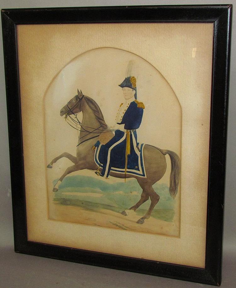 Framed watercolor of an officer on horseback