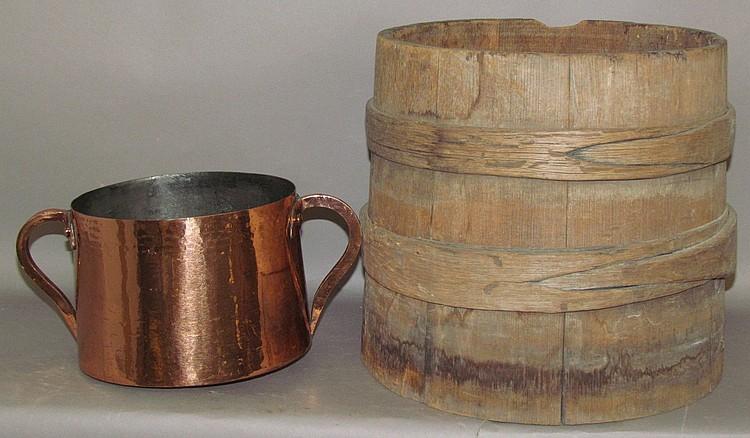 Wooden bucket & copper kettle