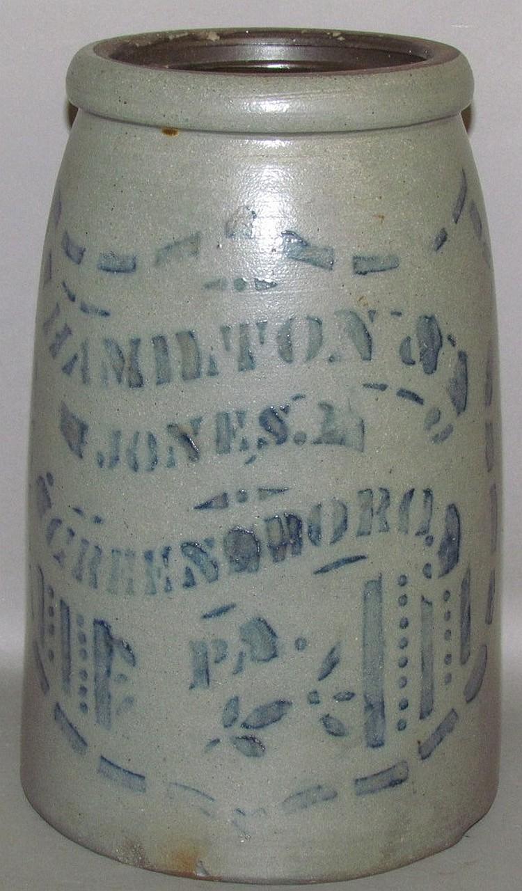 Cobalt decorated wax sealer stoneware canning jar