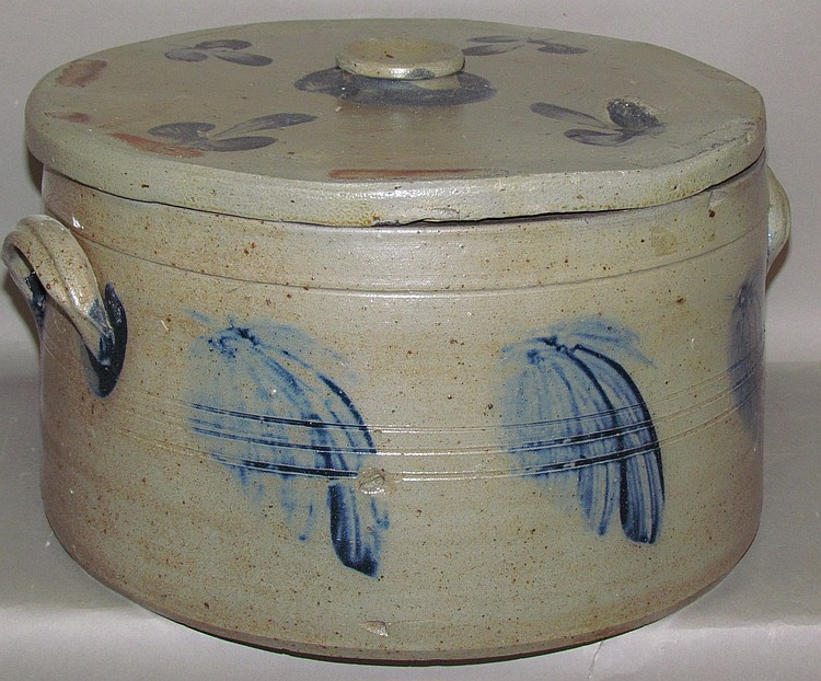 Lot 392: 4 gallon decorated covered cake crock