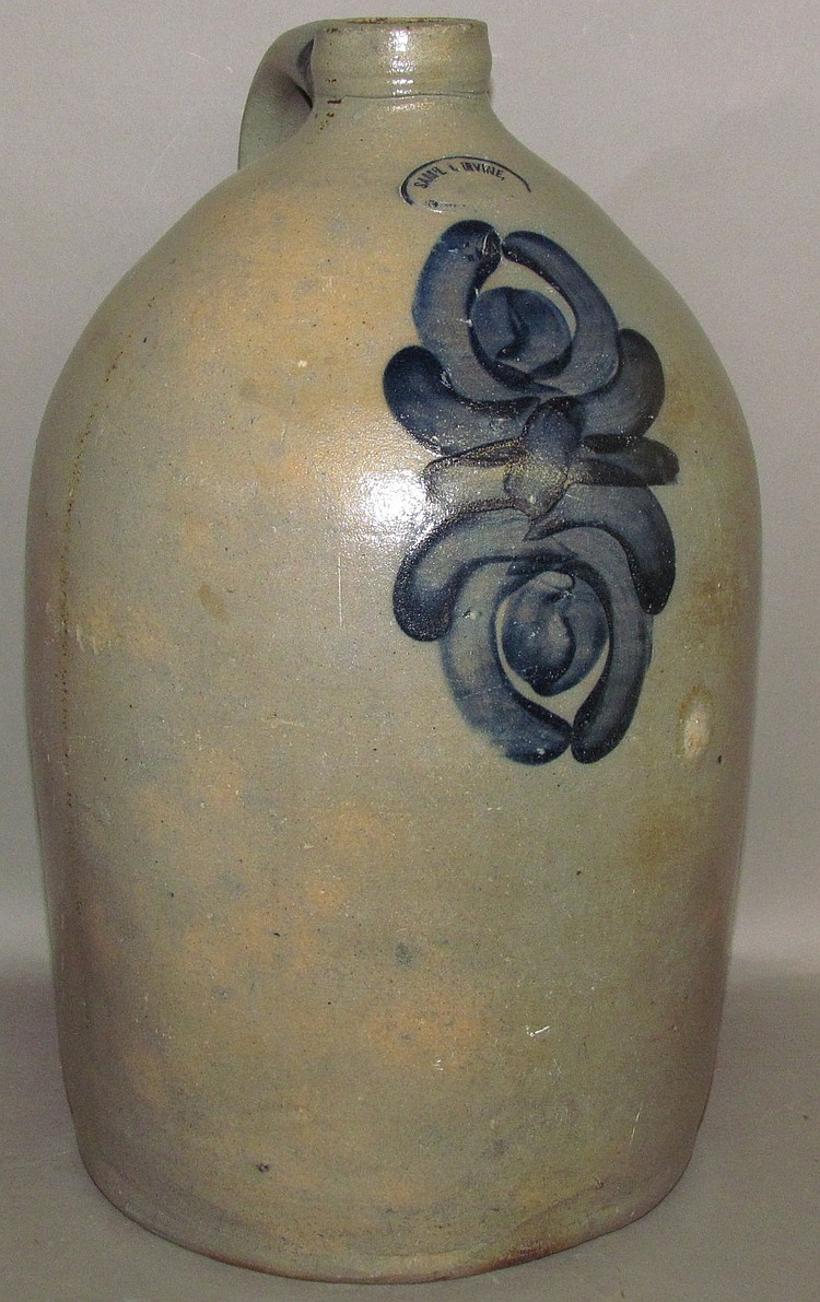 4 gallon cobalt decorated Sma'l Irvine jug