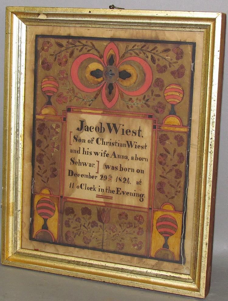 Lot 398: Samuel Bentz, Lancaster Co., PA ink & watercolor Fraktur birth record