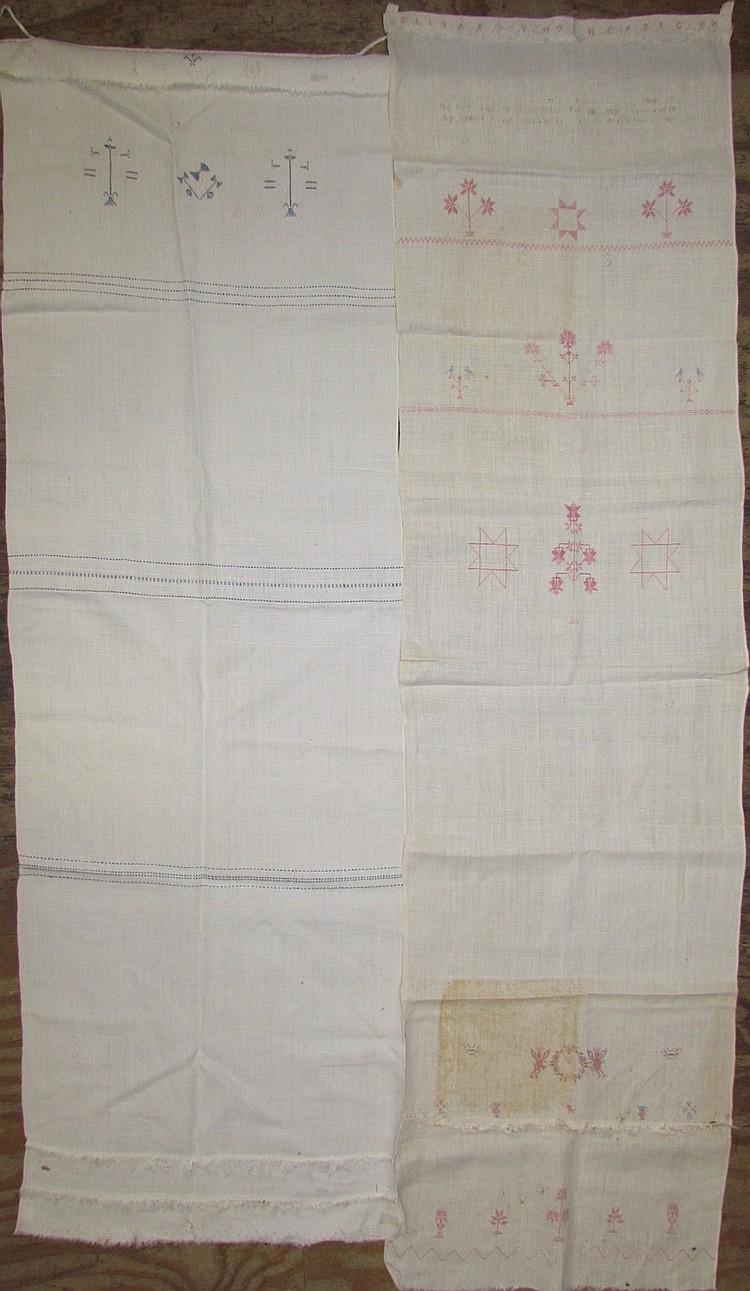 2 homespun linen show towels