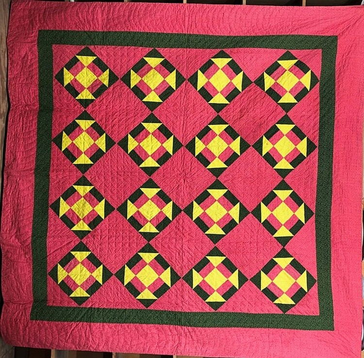 Lot 455: Pieced block on point pattern quilt