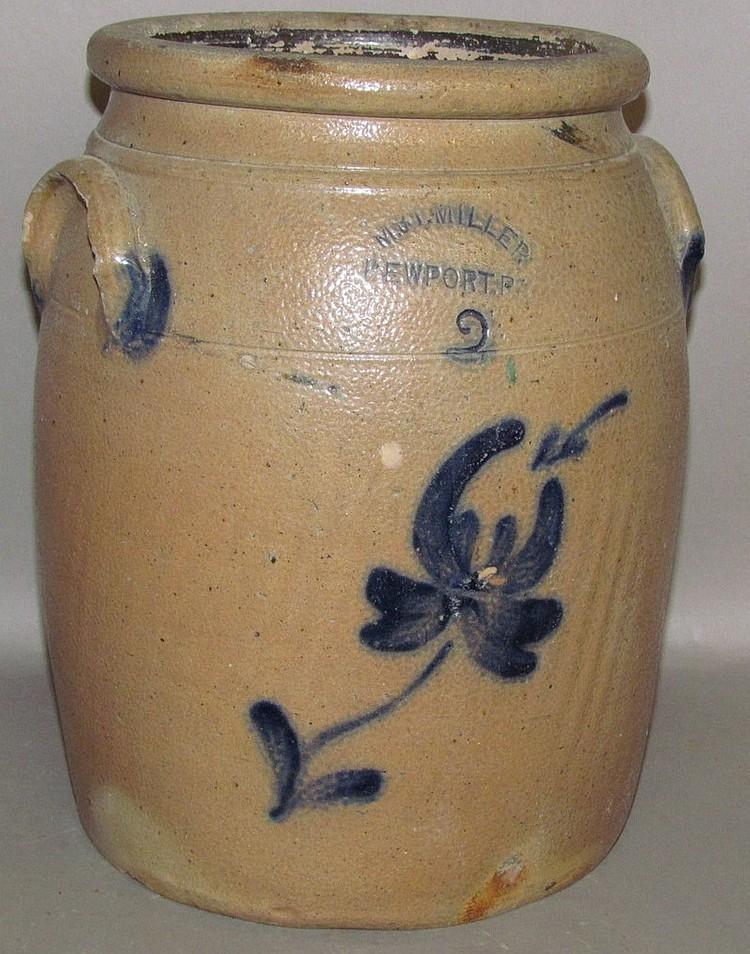 Lot 323: 2 gallon cobalt decorated M&T; Miller butter churn
