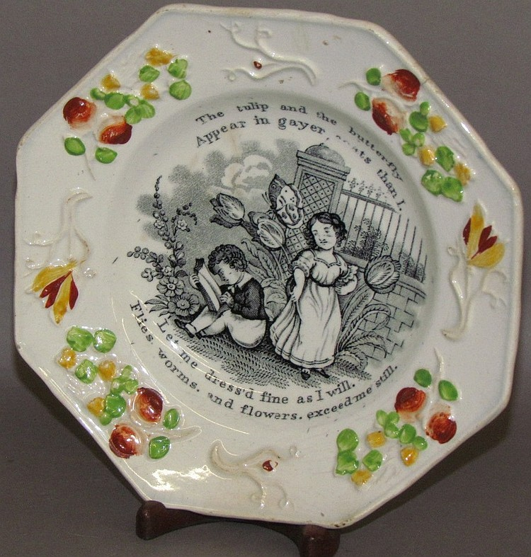 English Staffordshire octagonal child's plate