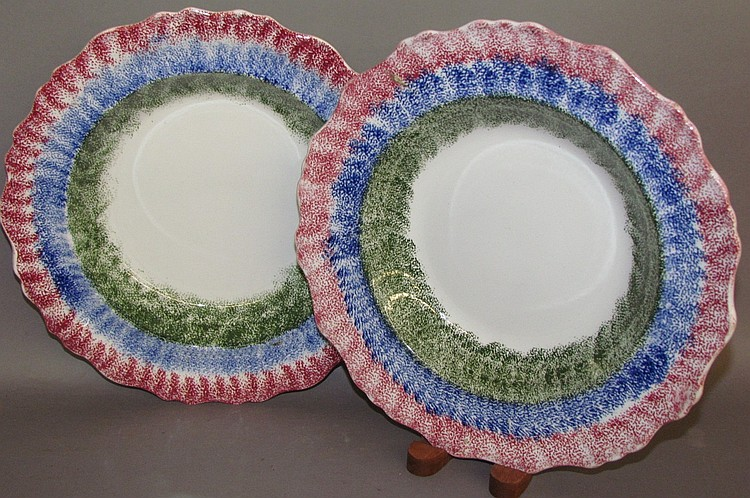 Pair of Adams rainbow spatter deep dishes