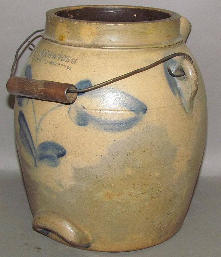 1 1/2 gallon cobalt decorated Sipe & Sons stoneware batter jug