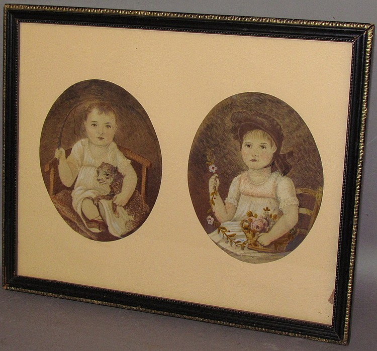 Lot 414: Pair of matched watercolor & oil portraits