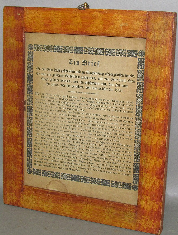 "Lot 416: Framed German script printed ""Letter From God"""