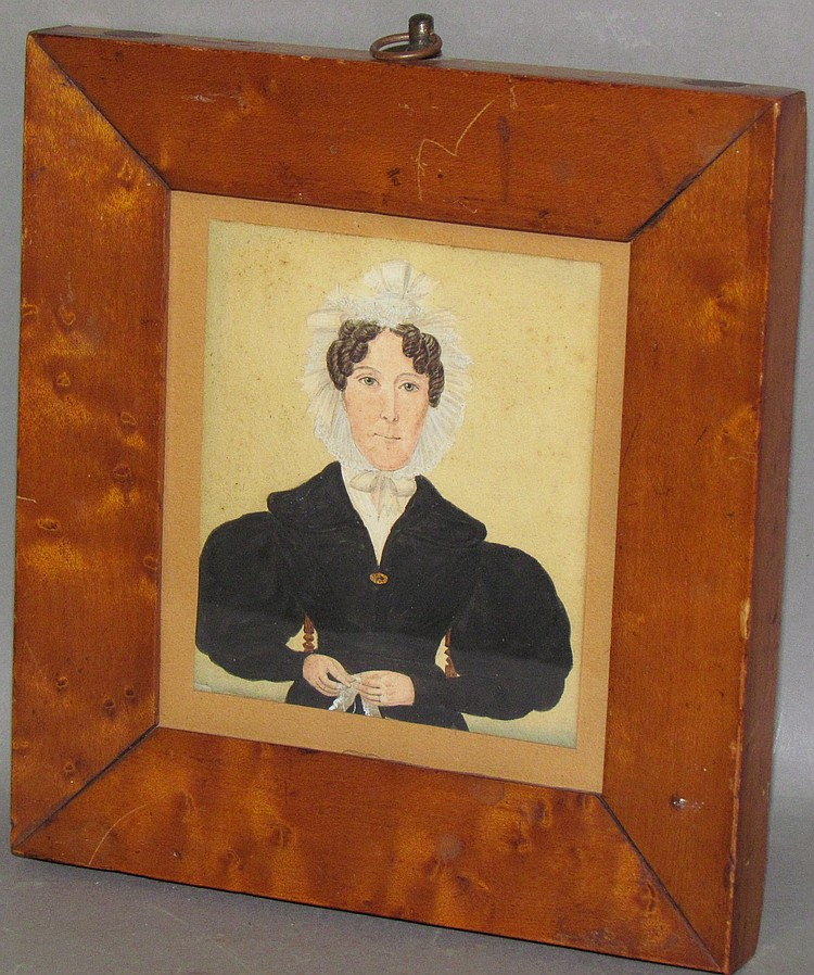 Miniature watercolor portrait on cardstock by C.W. Wing