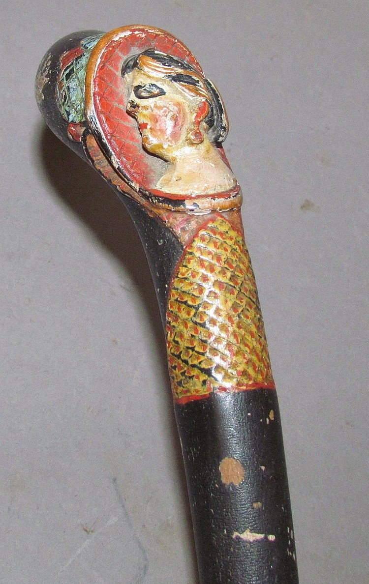 Lot 412: Polychrome paint decorated folkart carved walking stick