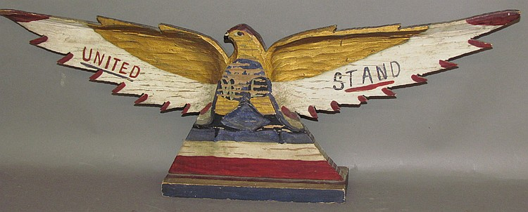 Lot 413: S.E. Simmons patriotic folk art carved eagle on stand