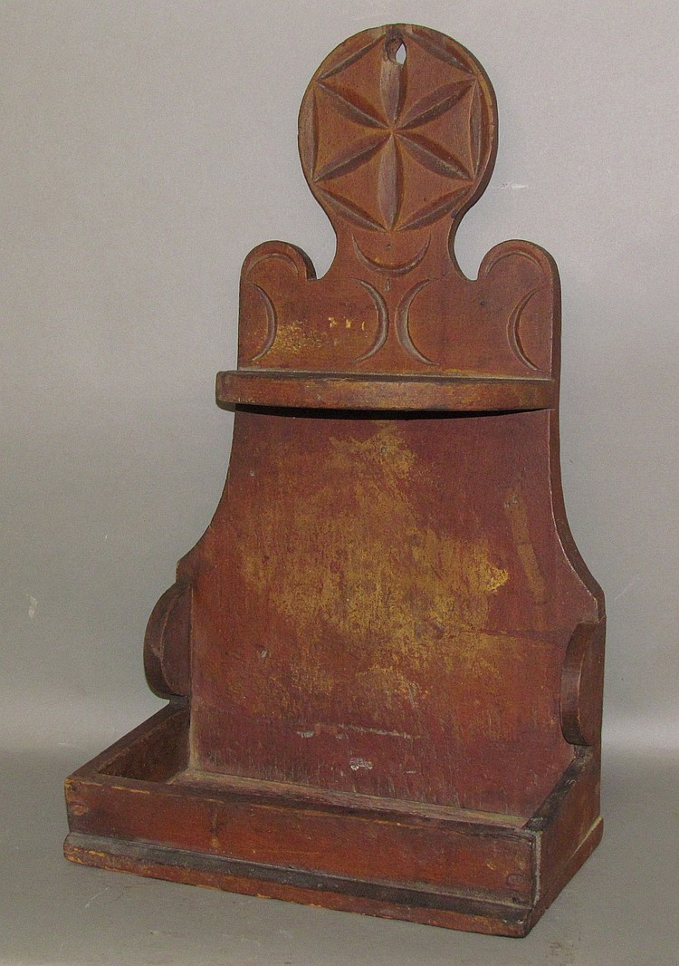 Early PA German spoon rack with red paint