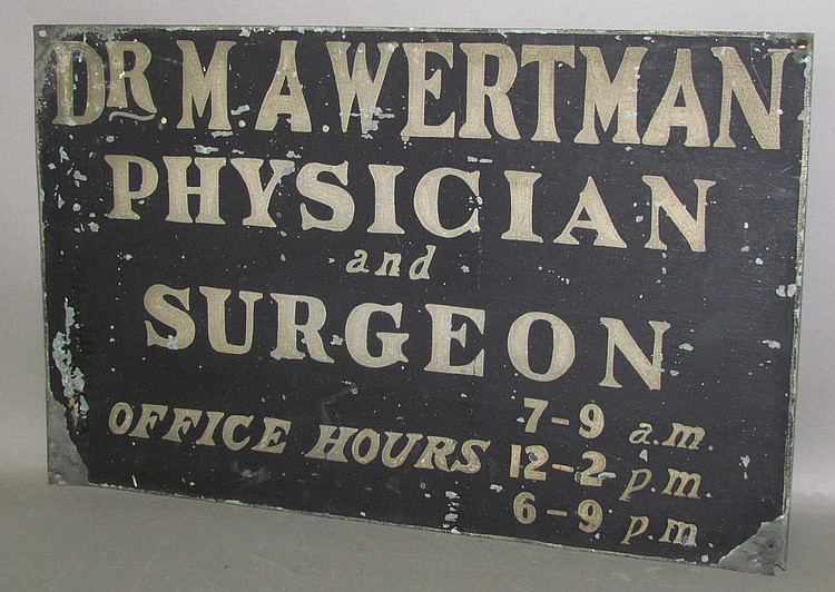 Painted doctor's sign