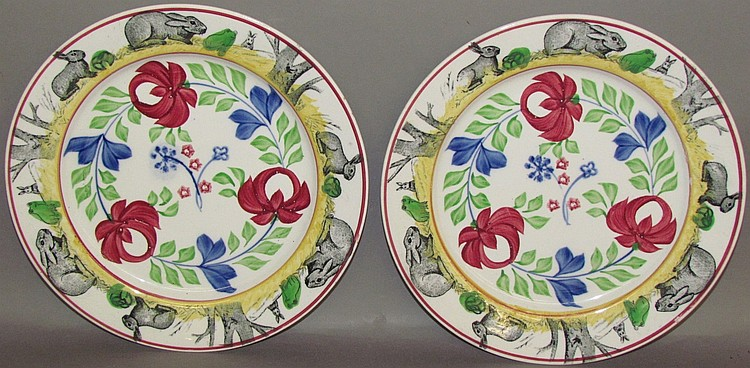 Lot 318: 2 rabbitware plates