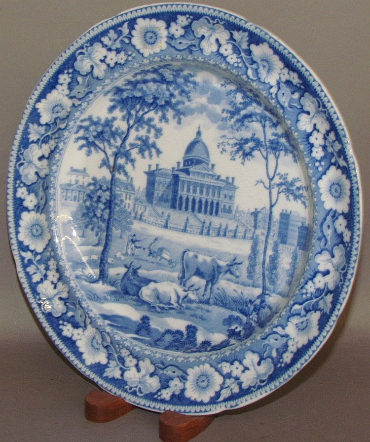 Boston State House Historical Blue plate